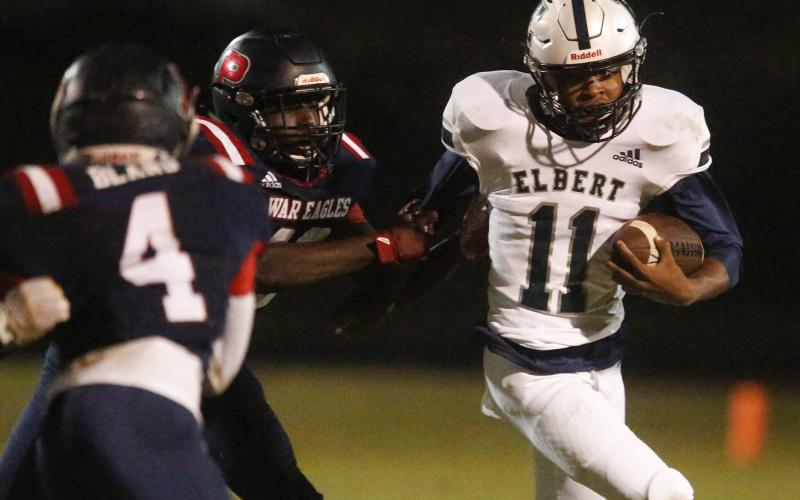 Freshman quarterback Christian Harris had six carries for 56 yards and one touchdown in Elbert County's 56-7 win at Putnam County Nov. 1 in Eatonton. (Photo by Cary Best)