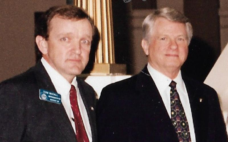 Rep. Tom McCall with the first of five Georgia governors he served with - Zell Miller.