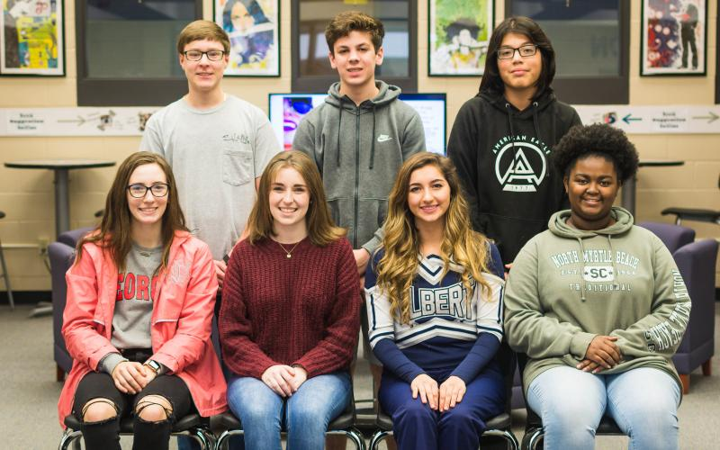 Students of the Month for December are (seated, L-R) Madelyn Dias, Rylee Smith, Madison Webb and Talaysha Thornton; (standing) Jake Harper, Matthew Hernandez and Keivin Renteria-Saldivar. Not pictured are Lillian Childs and Quentin Hill. (Photo by Dot Rutherford)