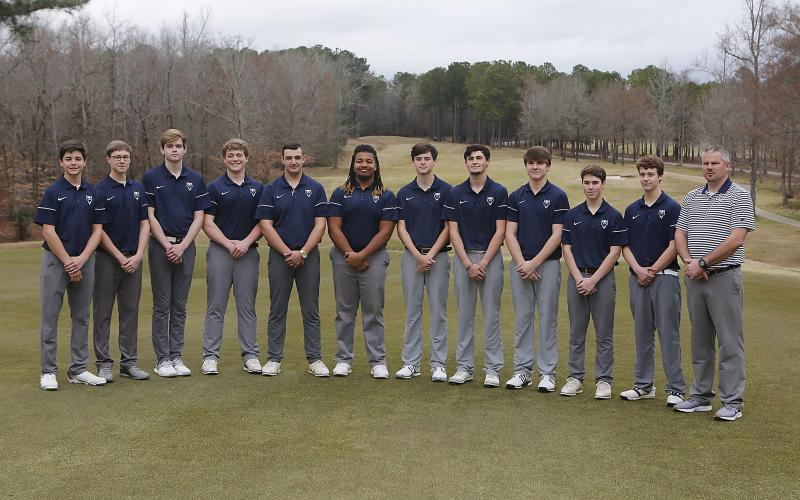 The 2020 Golf Devils are (L-R) Thomas Brady, Jake Harper, Ethan Cone, Ashford Bennett, Eli Goff, Tamar Burton, Nathan Thornton, Evan Yeargin, Brady Starrett, Slate Crook, Levi Johnson and coach Larry Kesler. (Photo by Cary Best)