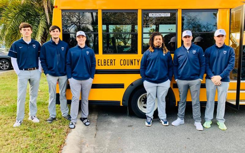 Blue Devil golfers (L-R) Nathan Thornton, Evan Yeargin, Ashford Bennett, Tamar Burton, Eli Goff and Brady Starrett finished as runners-up in the Camden Classic Feb. 22 at Osprey Cove Golf Club at St. Marys. (Photo special to The Star)