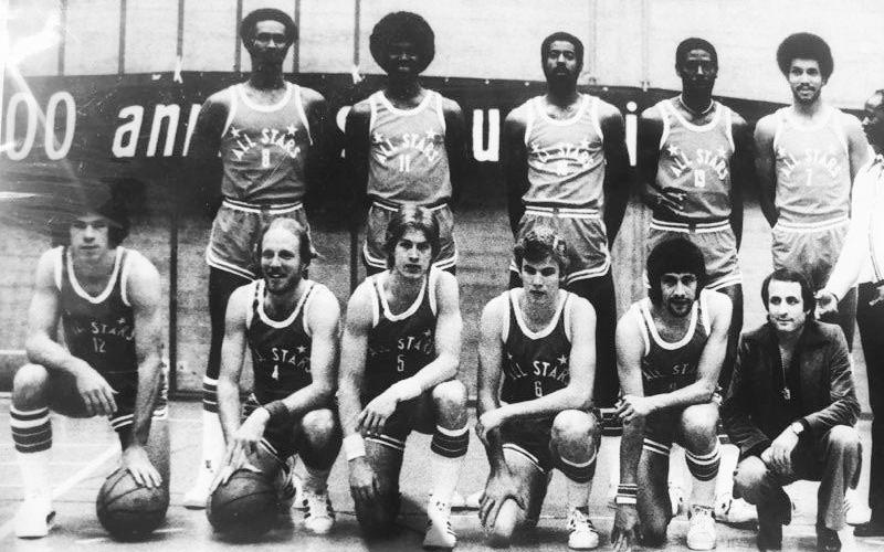 Don Hurburt (front row, third from left) poses with his 1977-78 American All Star team in Lugano, Switzerland.