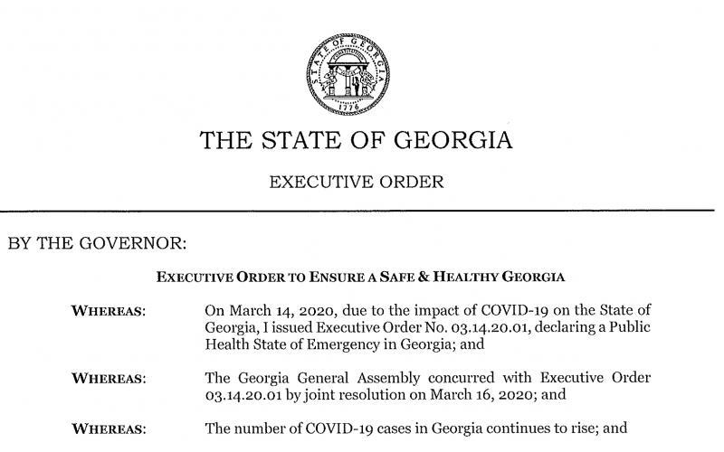 Gov. Brian Kemp issued an executive order April 2.