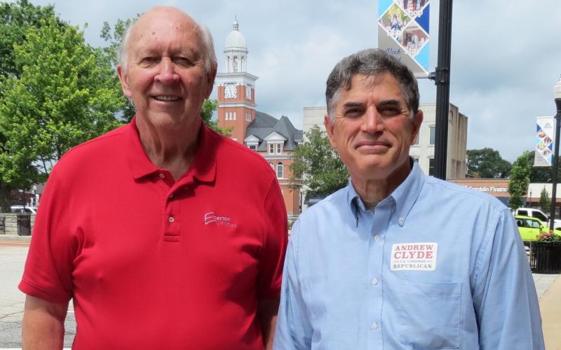 Athens businessman Andrew Clyde (right) – the Republican candidate for Georgia's Ninth Congressional District seat – visited Elberton in late June and toured the downtown area with Elberton Mayor Larry Guest.