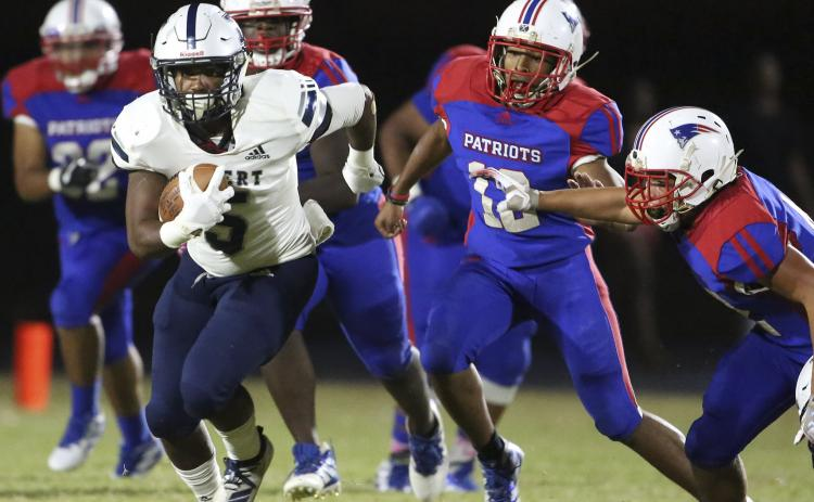 Blue Devil junior running back C.J. Tate rushed for 42 yards and scored a touchdown on a 60-yard pass during Elbert County's 63-0 region-opening win at Oglethorpe County Sept. 20 in Lexington. (Photo by Dan Giles)