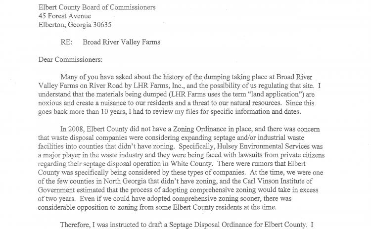 Bill Daughtry's letter to the Elbert County BOC