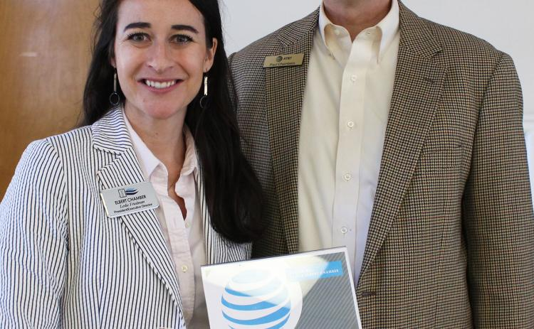 Chamber President Leslie Friedman (left) and AT&T's Paul Chambers. (Photo by Scoggins)