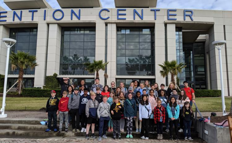 ECMS BETA Club students outside of the Savannah Convention Center in December at the State BETA Convention.
