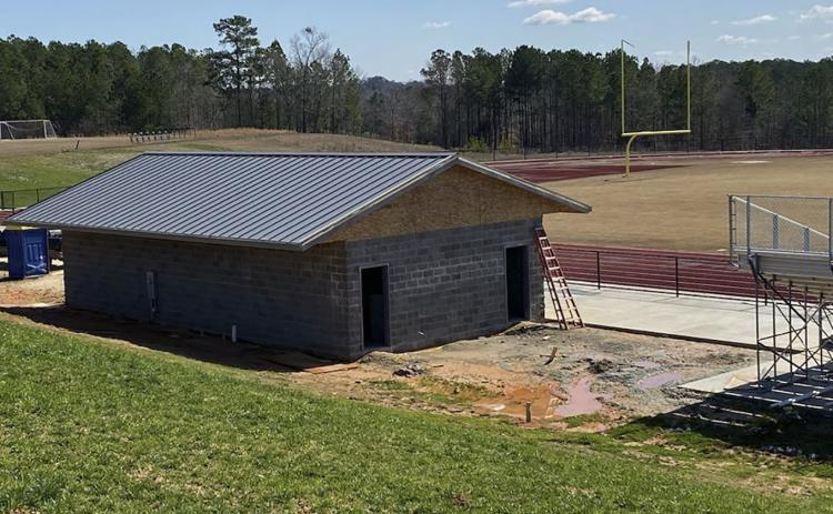Inclement weather has delayed construction of an 1,100-square foot concession stand and restroom facility at the Elbert County Middle School track. (Photo special to The Star)
