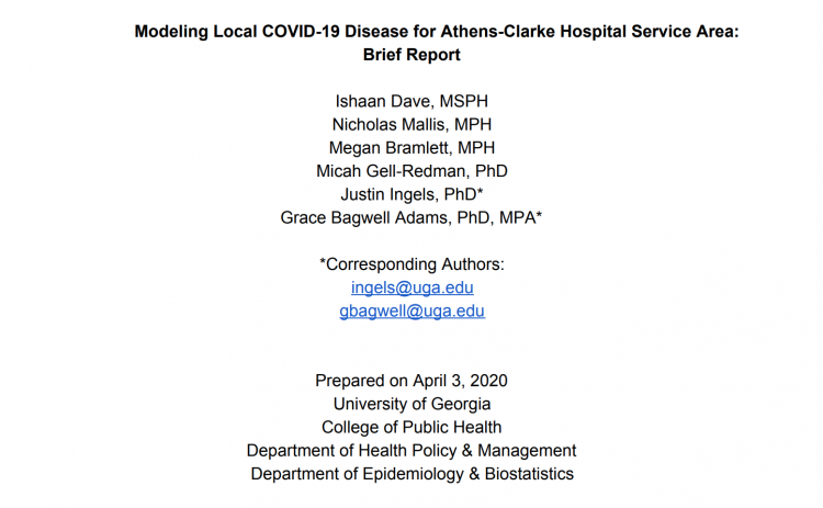 Modeling Local COVID-19 Disease for Athens-Clarke Hospital Service Area: Brief Report