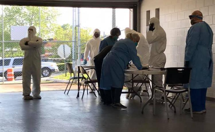 Photo from Elbert County Emergency Services of the COVID-19 testing at the Elbert County Detention Center on Wednesday, April 29.