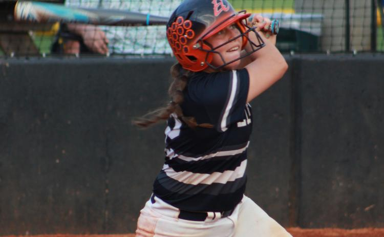 Makenly Rorick takes a swing in action against Franklin County Friday night in Carnesville. (Photo by Scoggins)